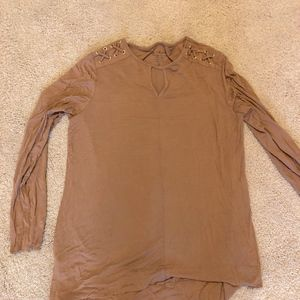 Chico's Camel Lace Up Long Sleeve Shirt